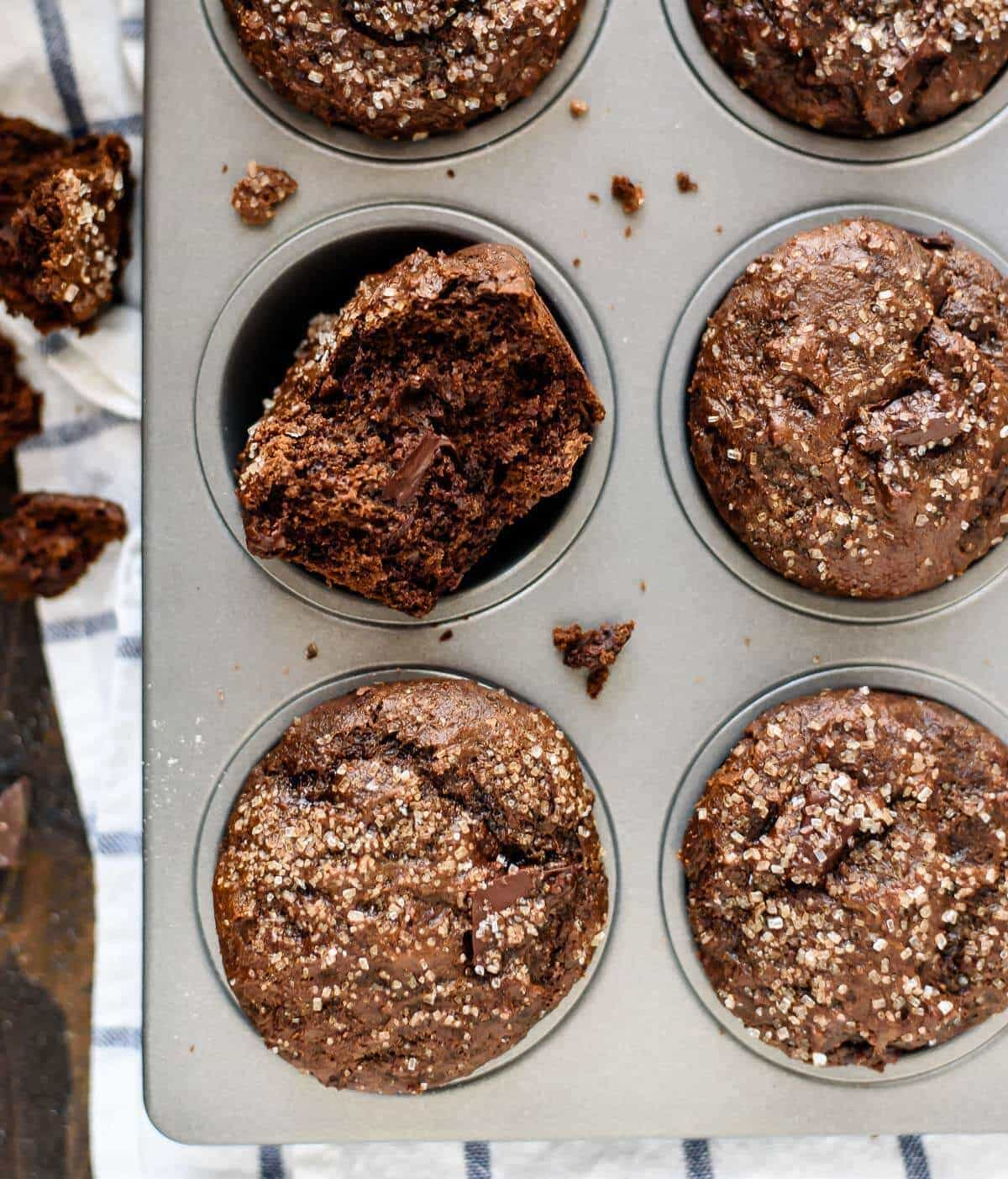 BEST Healthy Gingerbread Muffins. Moist, easy bakery-style muffins with yummy chocolate and cocoa added for extra indulgence! Made with whole wheat flour, coconut sugar, and Greek yogurt, this is our favorite breakfast. Recipe includes vegan and gluten free options.
