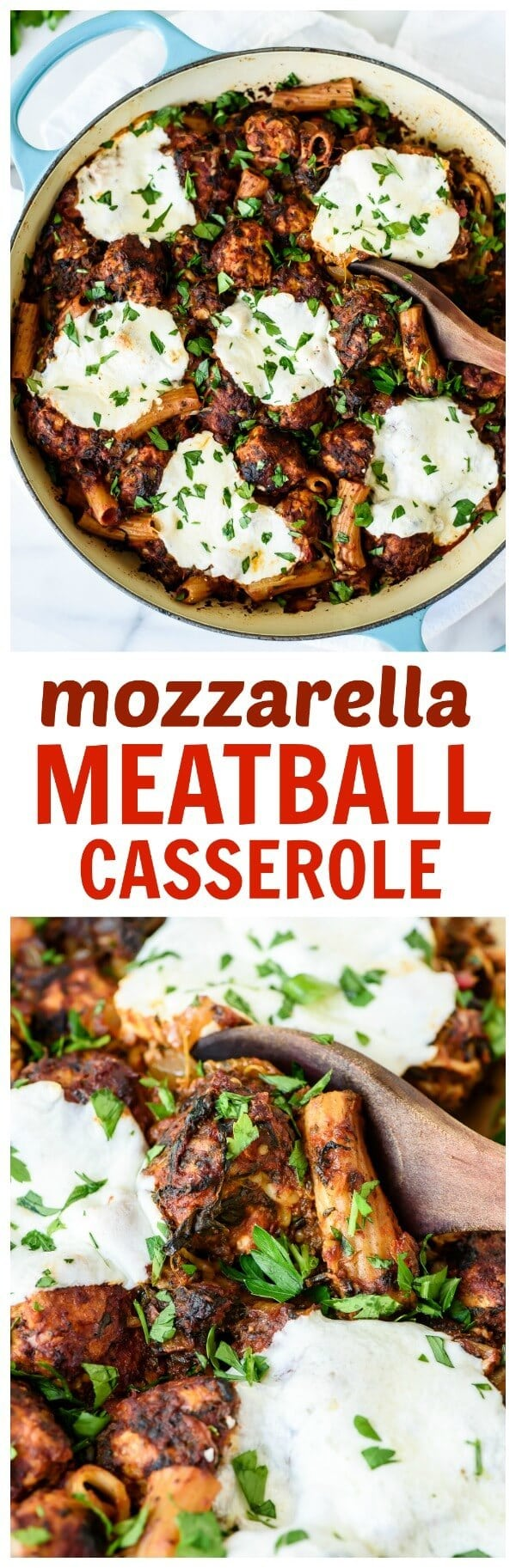 Mozzarella Meatball Casserole. Gooey cheese, zesty turkey meatballs and pasta baked together into one incredible recipe your entire family will love!