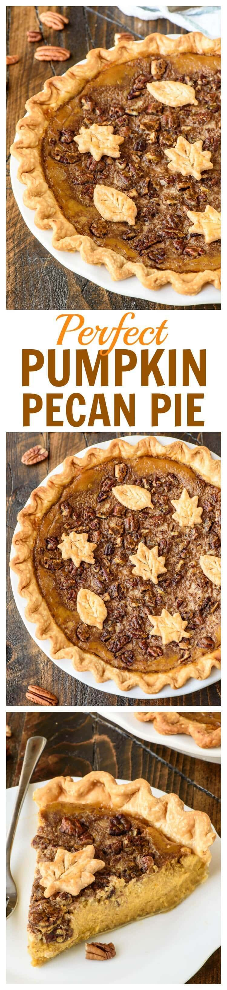Perfect Pumpkin Pecan Pie. The best of pumpkin pie and pecan pie combined into one amazing dessert, plus how to bake perfect pumpkin pie that won't crack or burn!