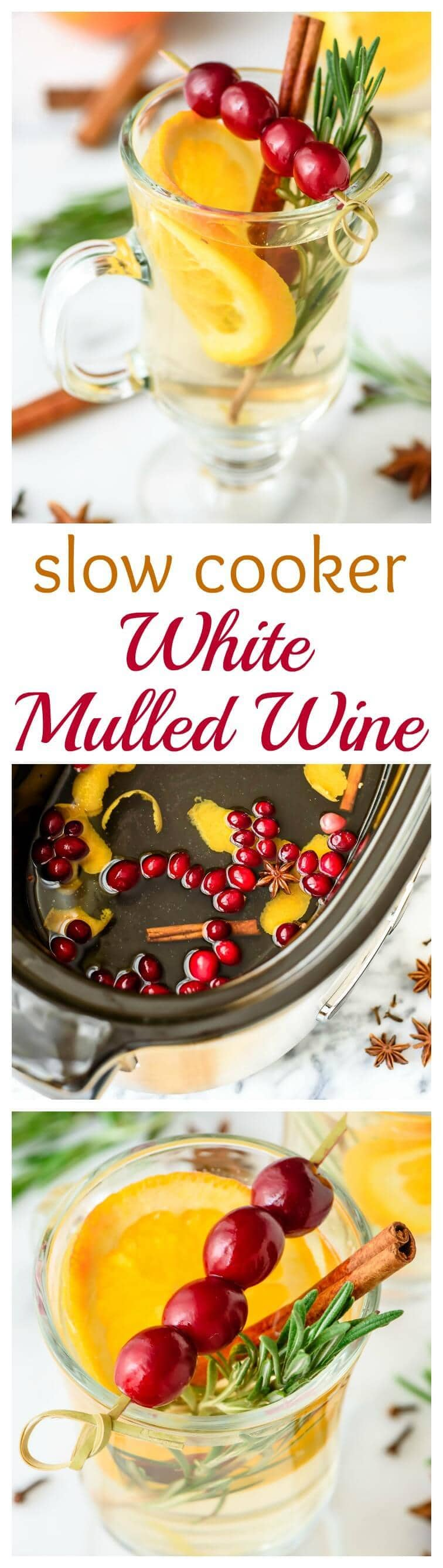 A white wine version of classic mulled wine that's made in the slow cooker! This drink is so pretty and festive, easy and inexpensive to make in big batches, and everyone loves it!