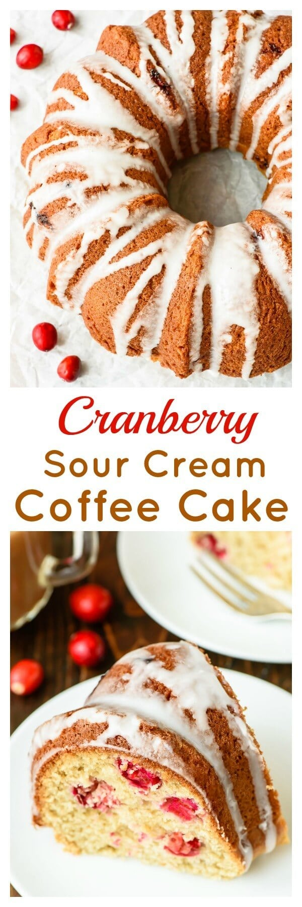 This Cranberry Sour Cream Coffee Cake is perfect for a holiday brunch or Christmas morning breakfast. It's gorgeous, EASY, and everyone will love it!