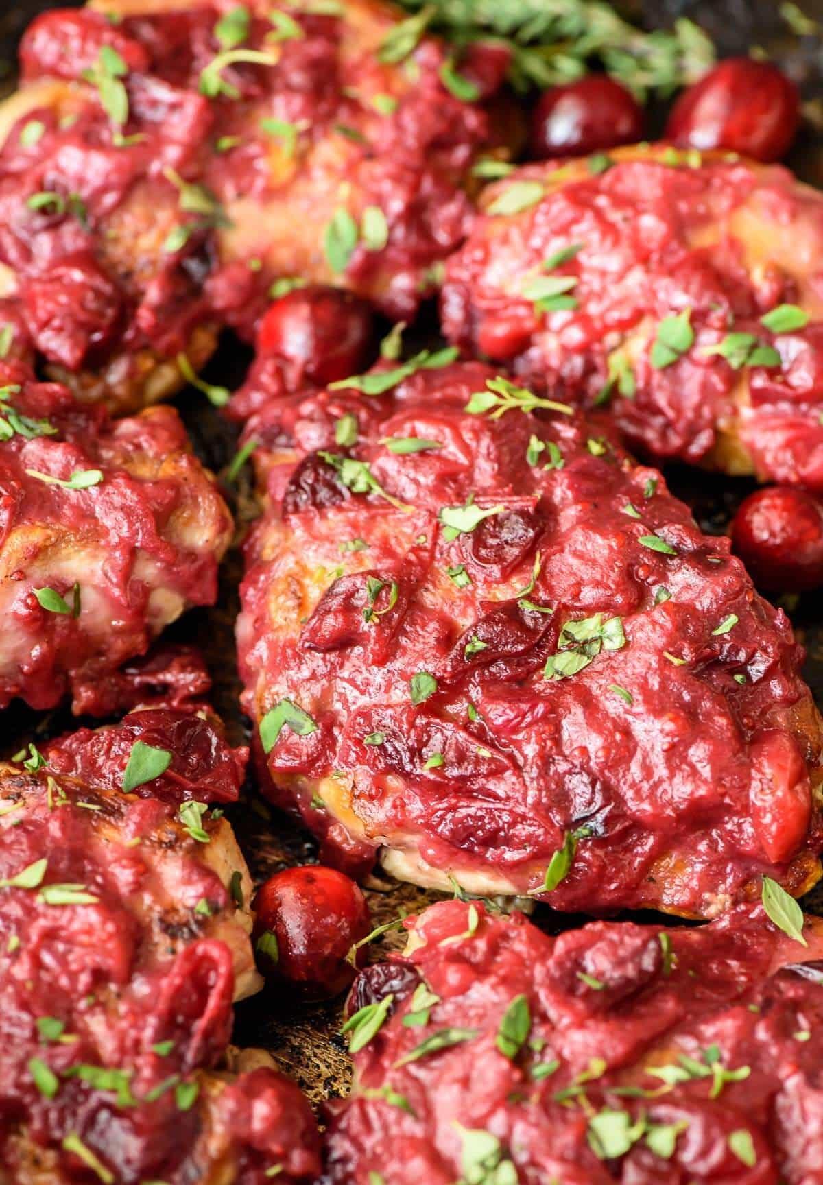 Sticky Cranberry Chicken Thighs