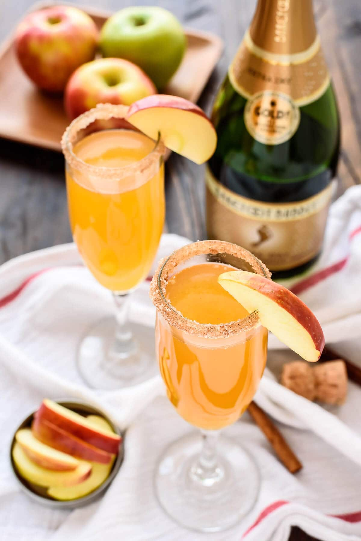 3 Ingredient Apple Cider Champagne Cocktails. A beautiful and easy signature drink recipe!