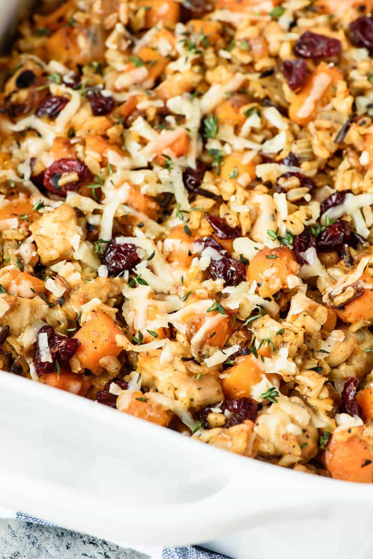 Perfect fall and winter meal: Cheesy Chicken and Wild Rice Casserole with Butternut Squash. Easy and gluten free