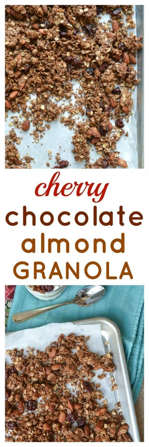 Chocolate Almond Granola. Crunchy and wholesome granola that makes eating chocolate for breakfast a healthy choice!