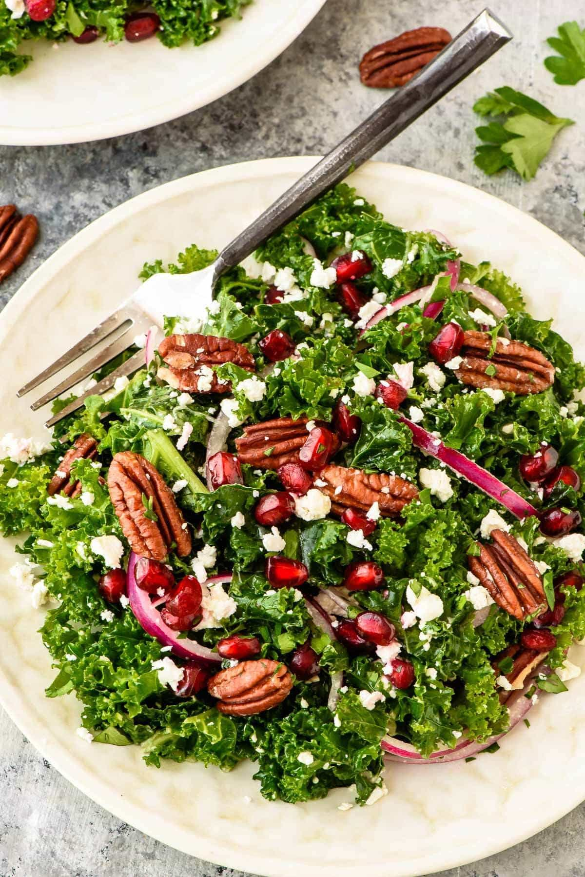 Kale Salad with Pomegranate and Pecans — Perfect for a light lunch or make-ahead holiday side dish.