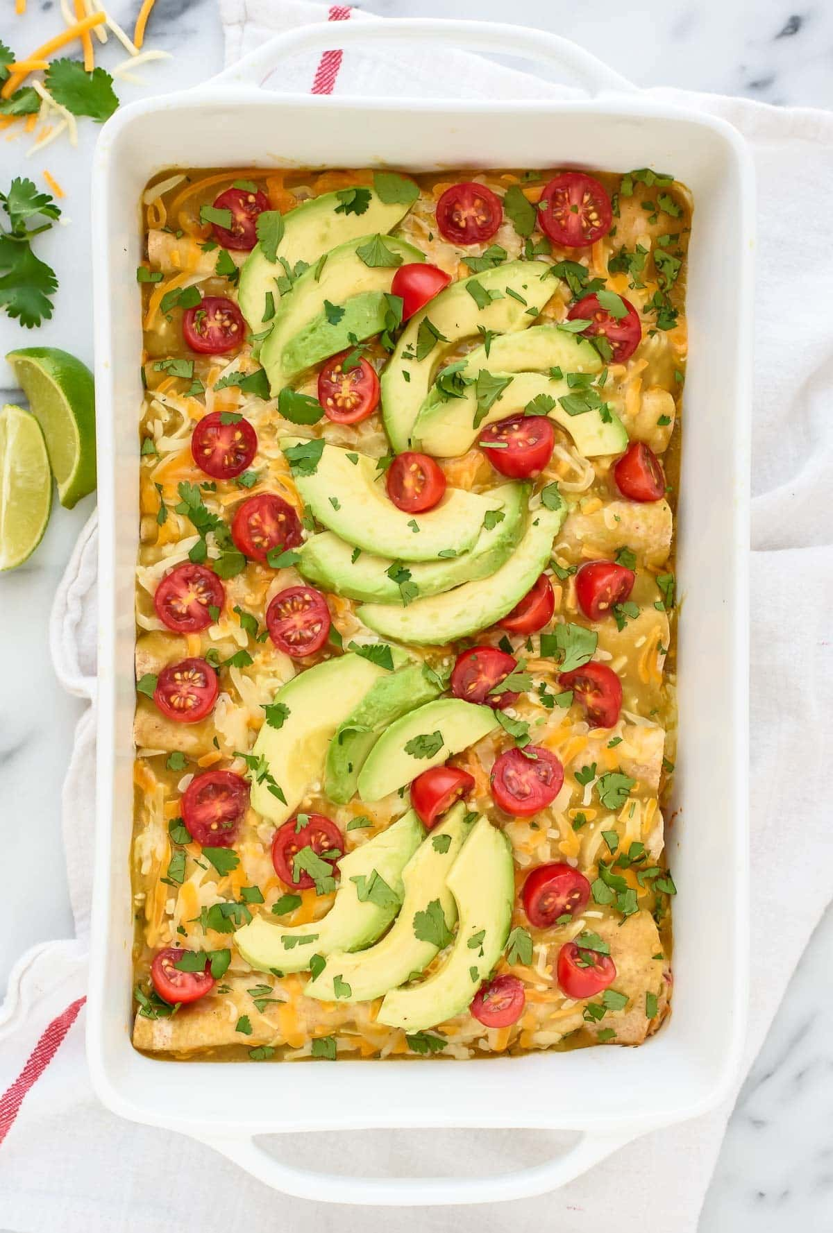 Creamy Green Chile Chicken Enchiladas. A simple and healthy recipe!