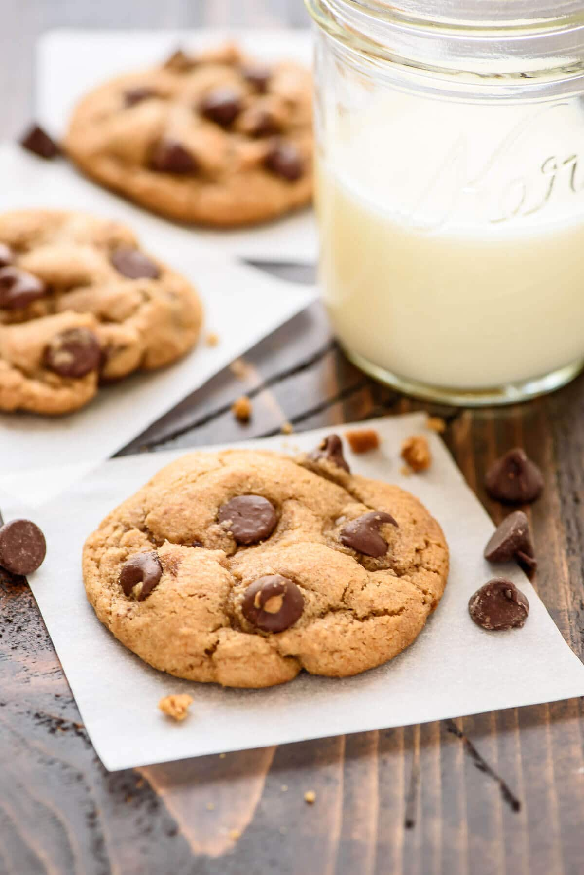The SOFTEST Chocolate Chip Coconut Oil Cookies. Thick and chewy with tons of chocolate, and they are better for you too!