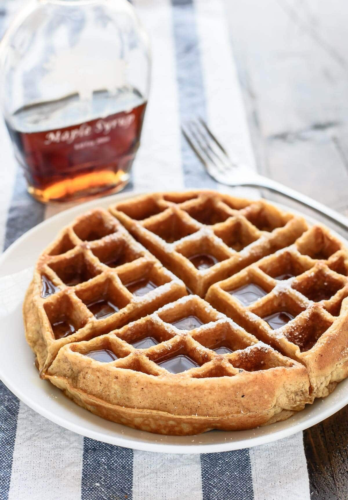 Fluffy whole wheat waffles, made in a blender. This is the BEST healthy waffle recipe