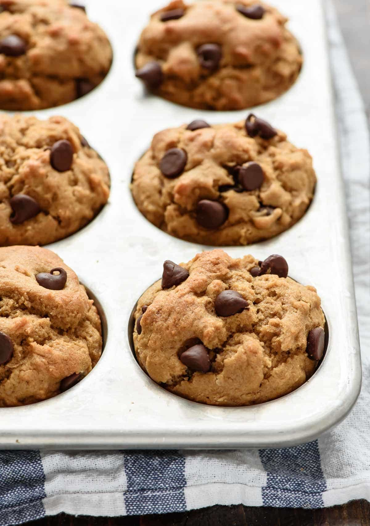 Peanut Butter Chocolate Chip Muffins. Moist, fluffy, and healthy too!
