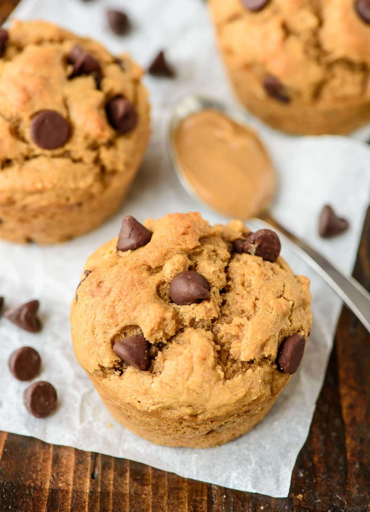 Chocolate Chip Peanut Butter Muffins. Made with whole wheat flour and coconut oil, these healthy muffins are protein packed and will keep you full for hours!