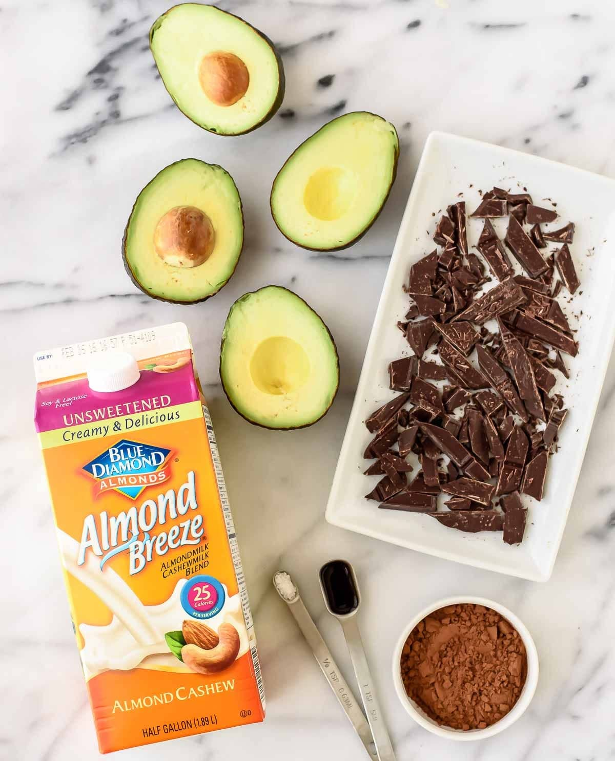 ingredients needed to make Vegan Avocado Chocolate Mousse