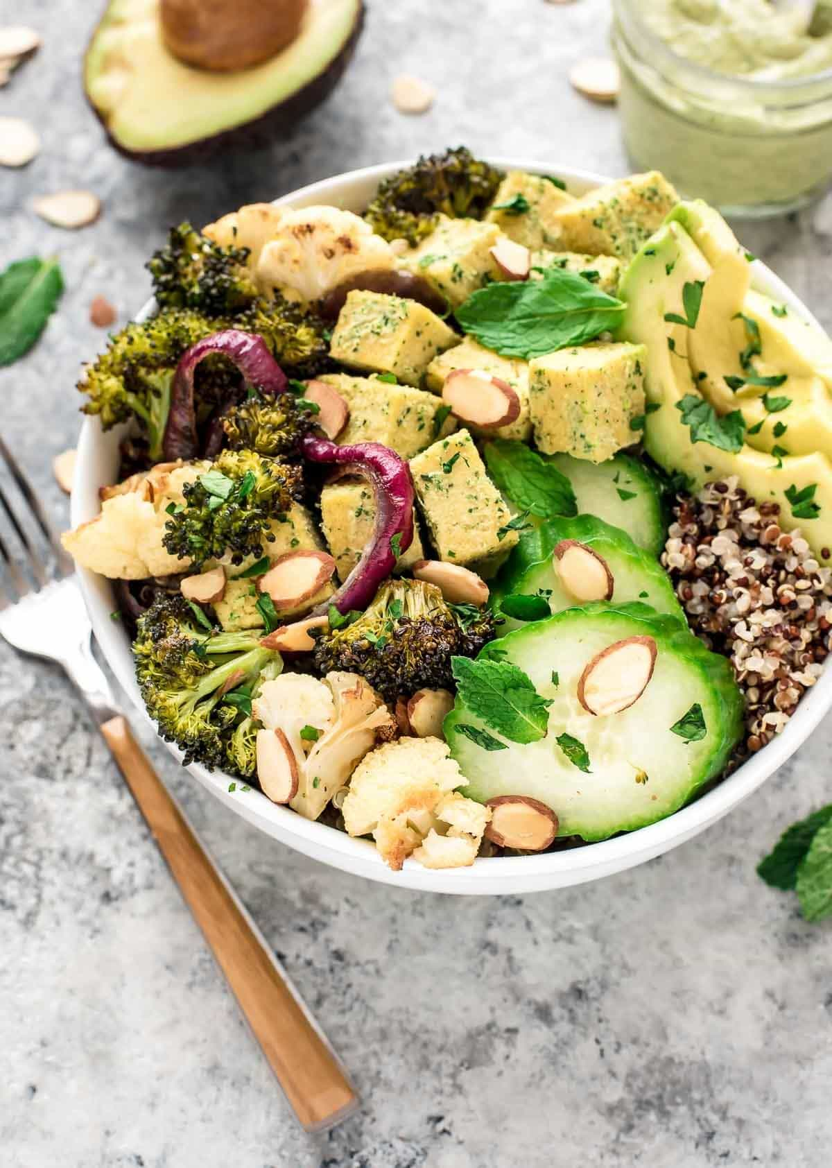 Roasted Veggie BUDDHA BOWL. A complete meal packed with protein, fiber, and healthy fats, with a STELLAR tahini lemon dressing that you are going to want on EVERYTHING. Vegan, gluten free, and clean eating. @wellplated