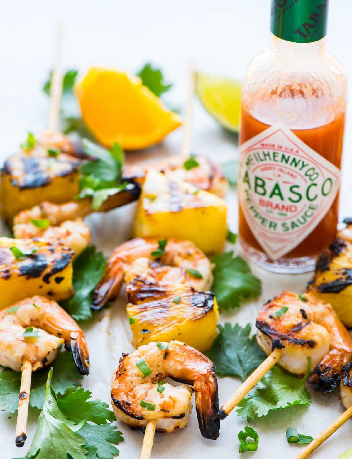 Coconut Pineapple Shrimp Kabobs, made with pineapple or vegetables.