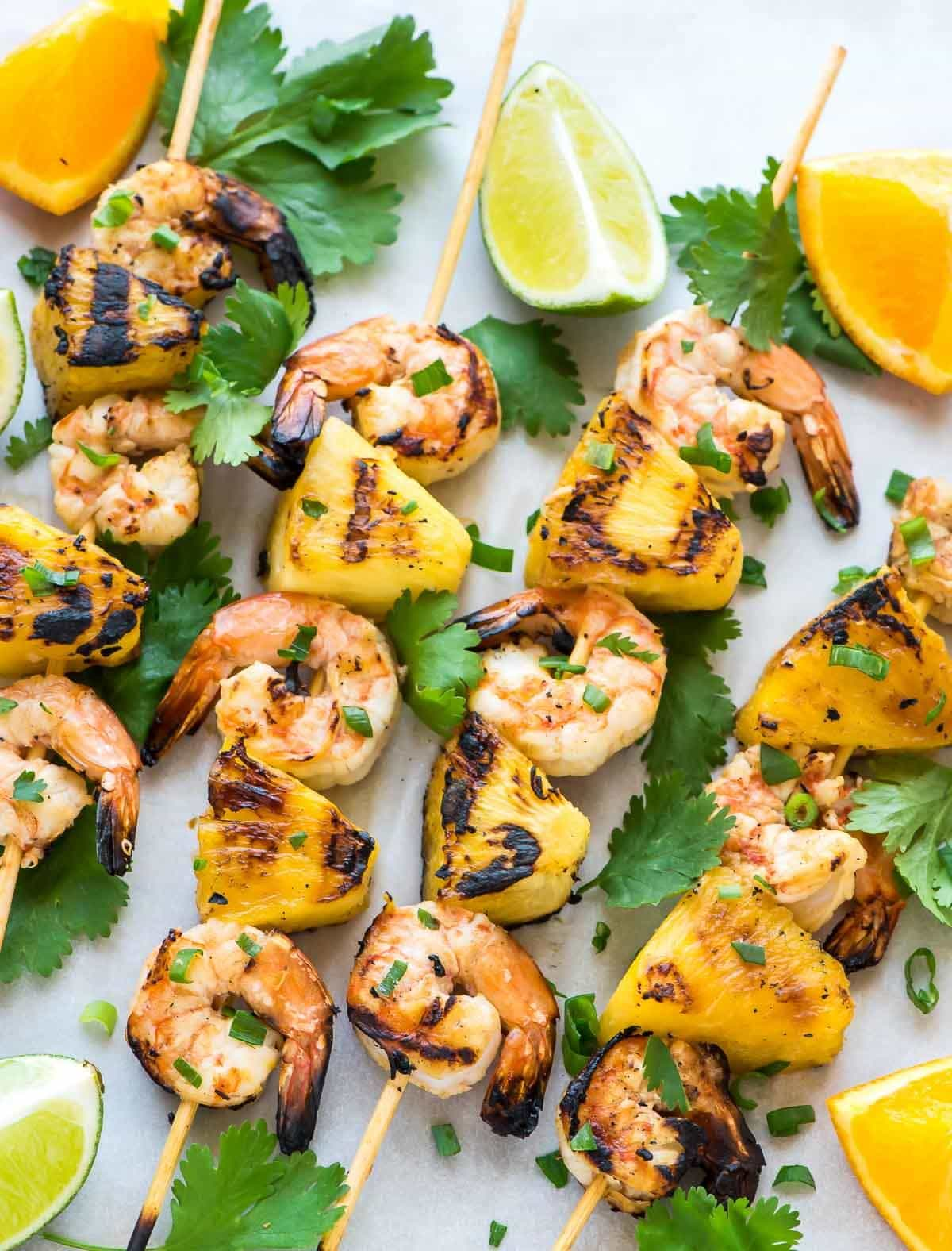 Pineapple Shrimp Kabobs with Pineapple, threaded onto skewers and cooked on the grill or in the stove top.