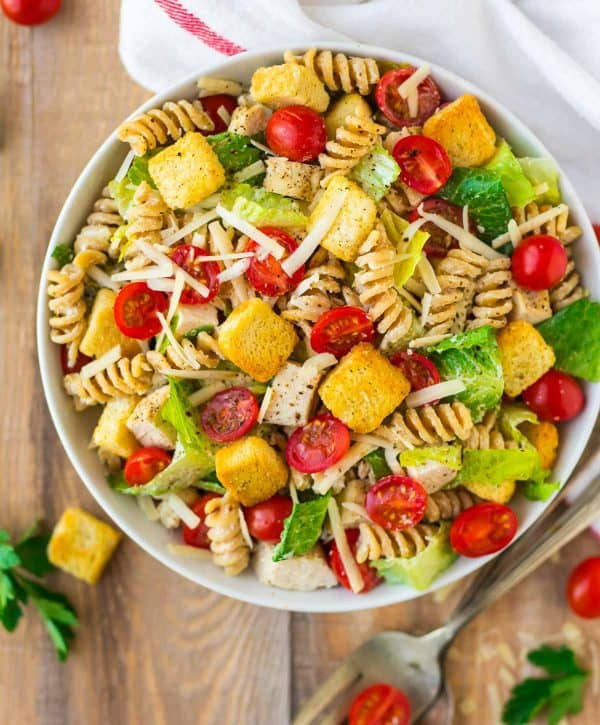 Healthy Chicken Caesar Pasta Salad. An easy potluck or barbecue side dish that's perfect for summer!