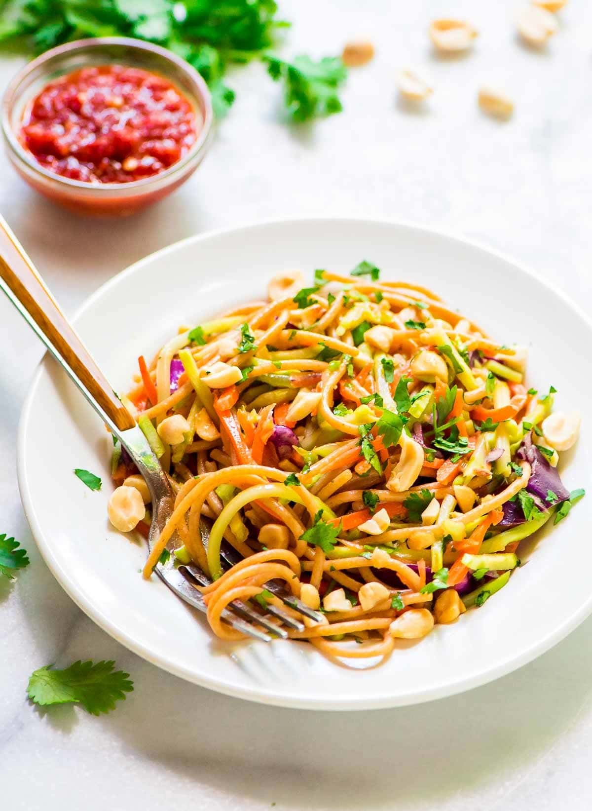 Asian Noodle Salad with Sriracha Peanut Dressing