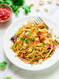 Asian Noodle Salad with Peanut Dressing. This is the BEST cold pasta salad recipe! Whole wheat pasta mixed with crunchy veggies in a sweet and spicy peanut sauce. Packed with flavor, healthy, and filling too! @wellplated