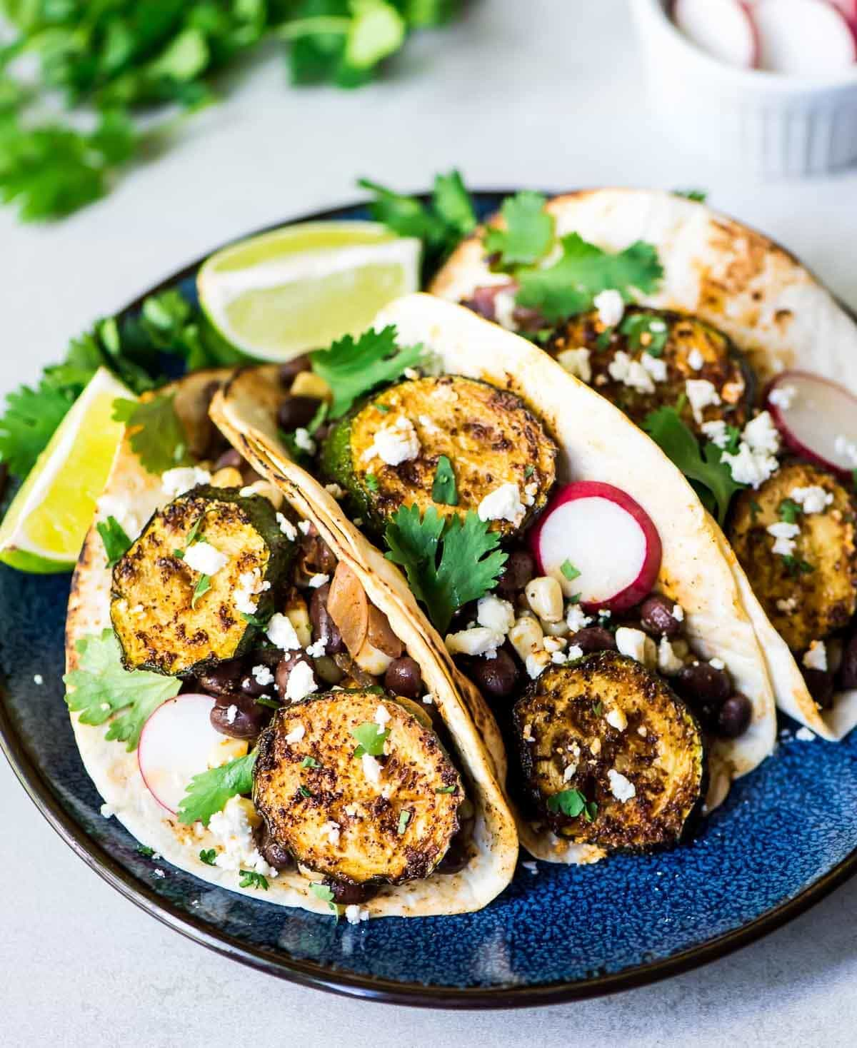 Blackened Zucchini Tacos with Sweet Corn and Black Beans — Easy, healthy and SO DELICIOUS! Even meat lovers will love this recipe!