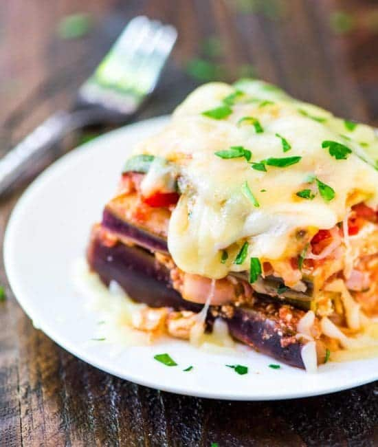 slice of slow cooker low carb lasagna