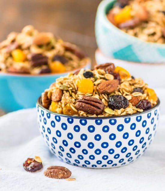 big bowl of homemade healthy granola made in a slow cooker