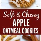 Thick, soft, and chewy Apple Oatmeal Cookies. The perfect healthy cookie recipe that's easy to make and perfect for snacks and desserts. A great breakfast cookie recipe, too! #cookies #healthy #recipe #apples