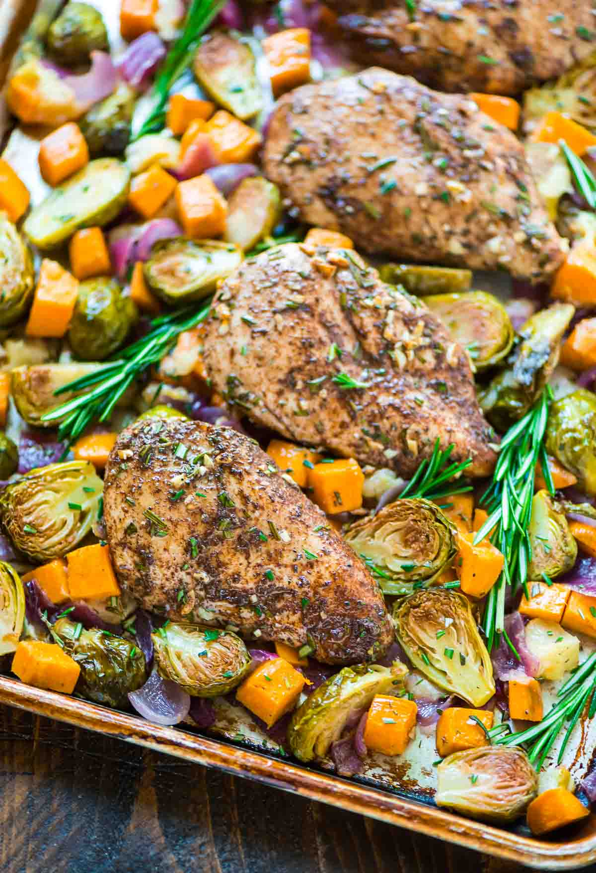 Chicken with Sweet Potatoes Apples and Brussels Sprouts