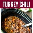 Slow Cooker Sweet Potato Turkey Chili with Quinoa and Black Beans. The best crock pot turkey chili ever!