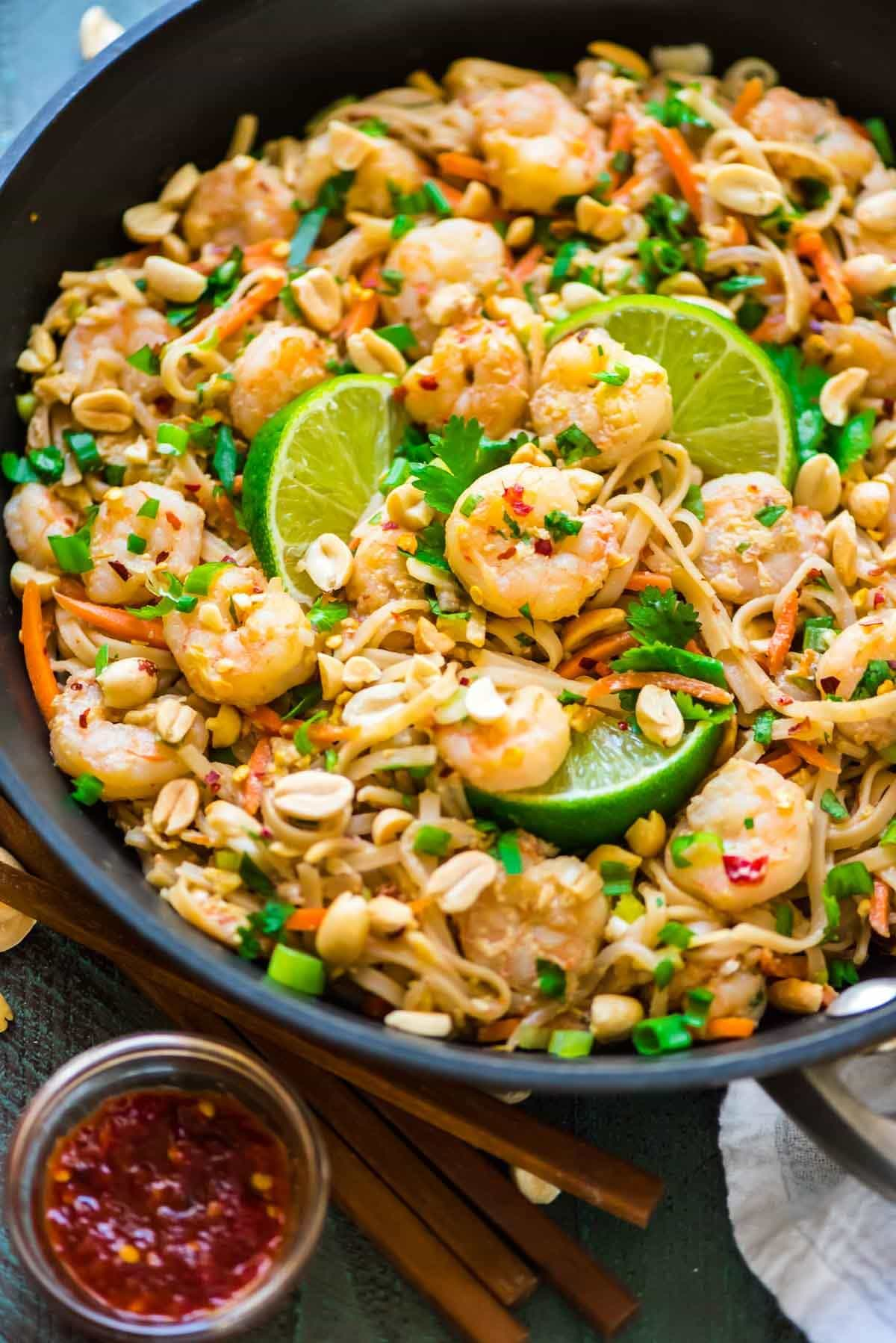 Shrimp Pad Thai. Easy and so much better than take out! Healthy recipe that's ready in 15 minutes. Simple and gluten free. Recipe at wellplated.com | @wellplated