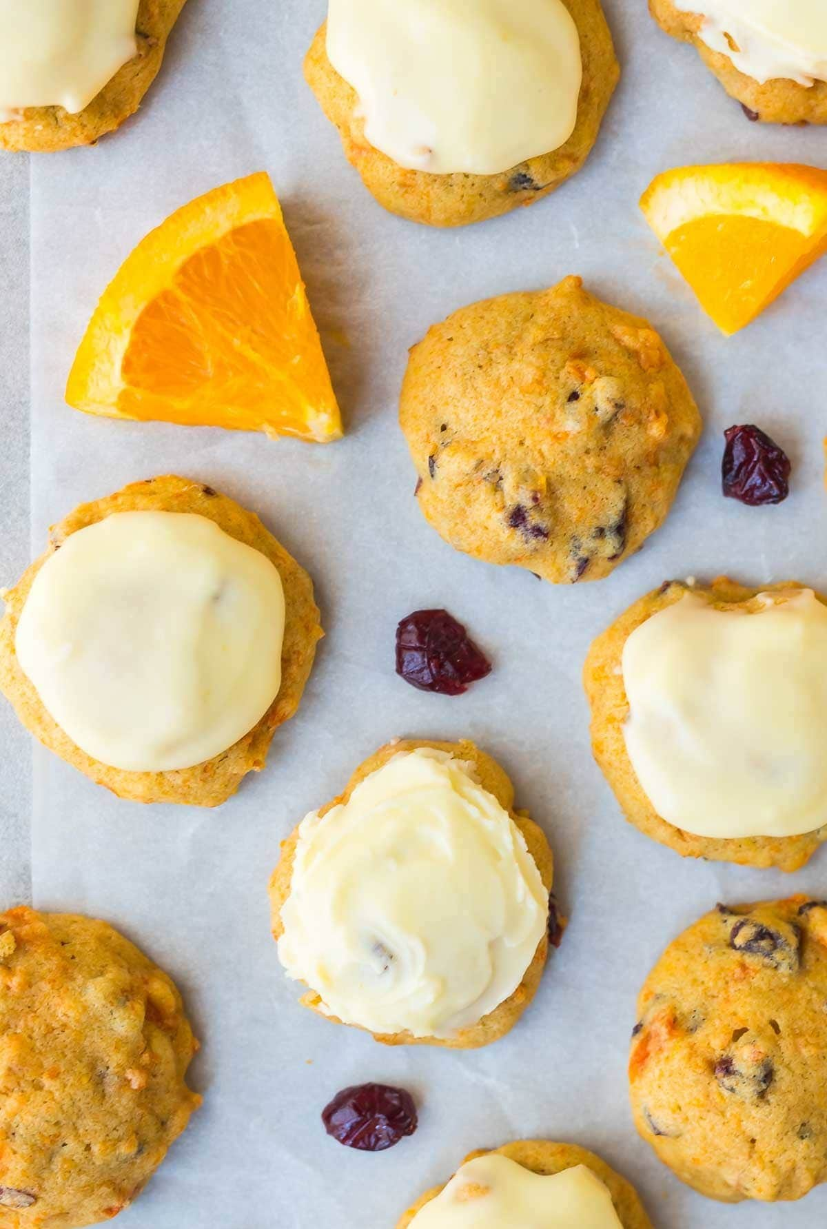 Melt In Your Mouth Orange Cookies With Cranberries And Orange Frosting