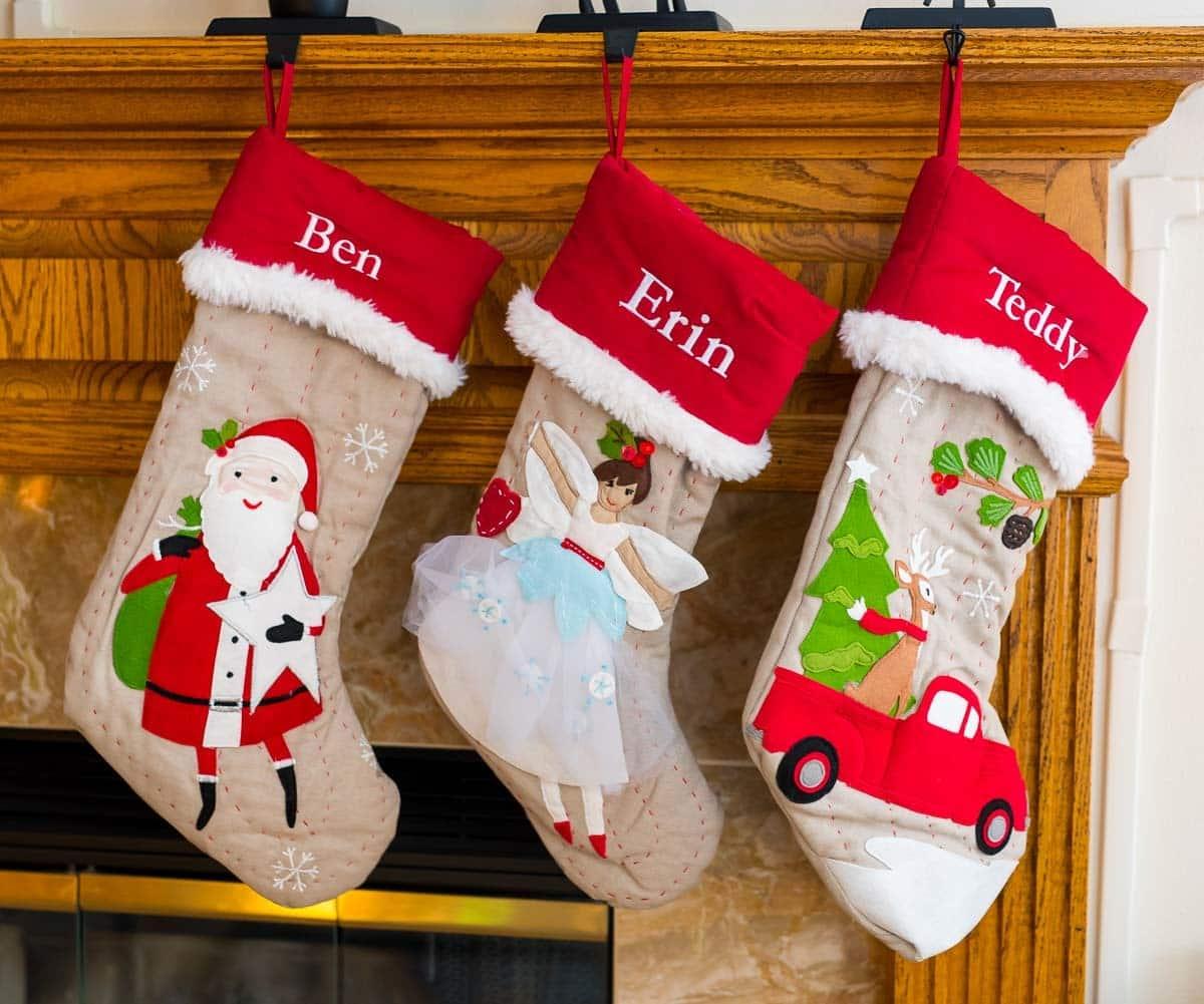 Woodland Christmas Stockings—santa, angel, deer