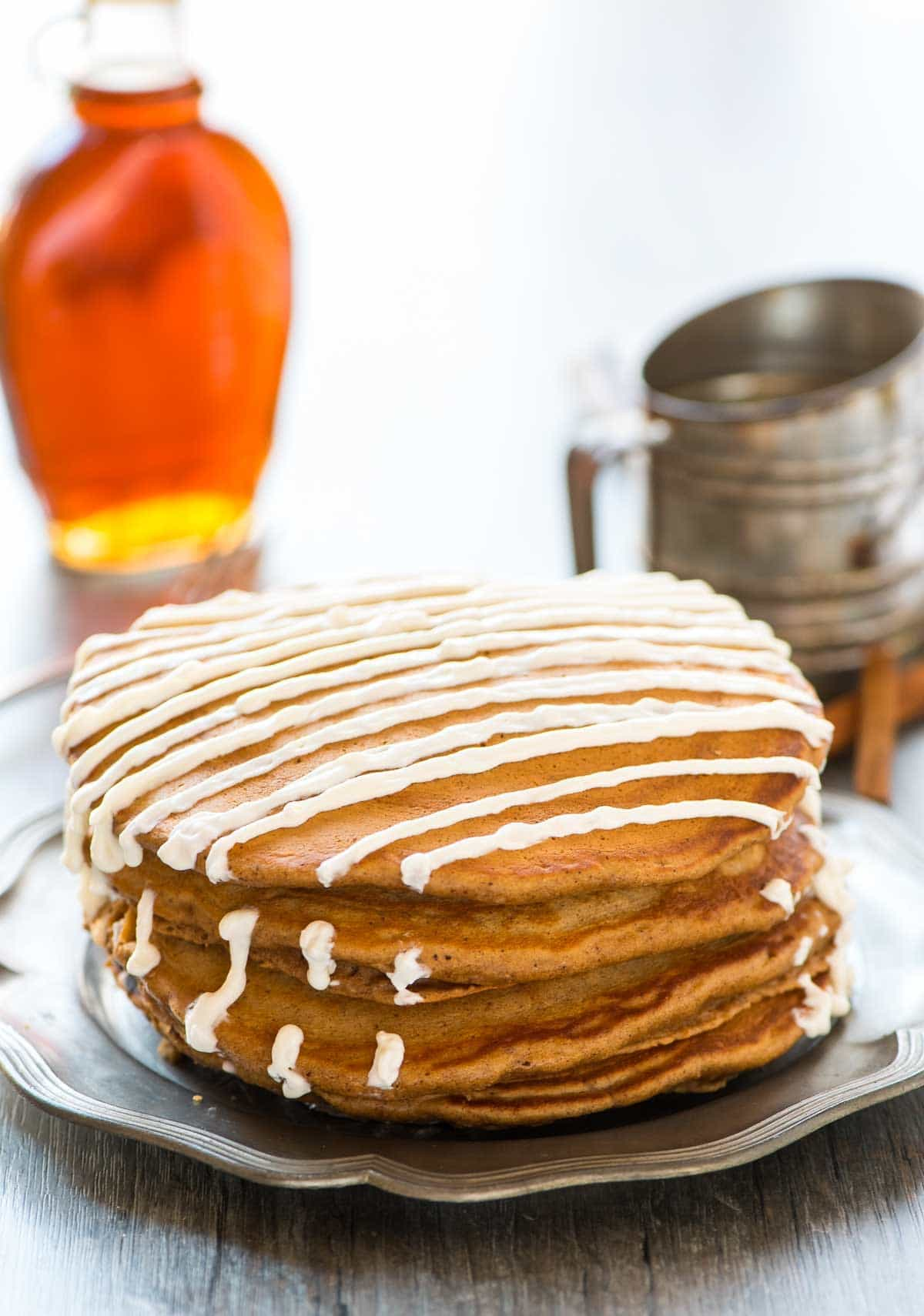 Easy Gingerbread Pancakes recipe made without molasses. So soft and fluffy! Recipe at wellplated.com | @wellplated