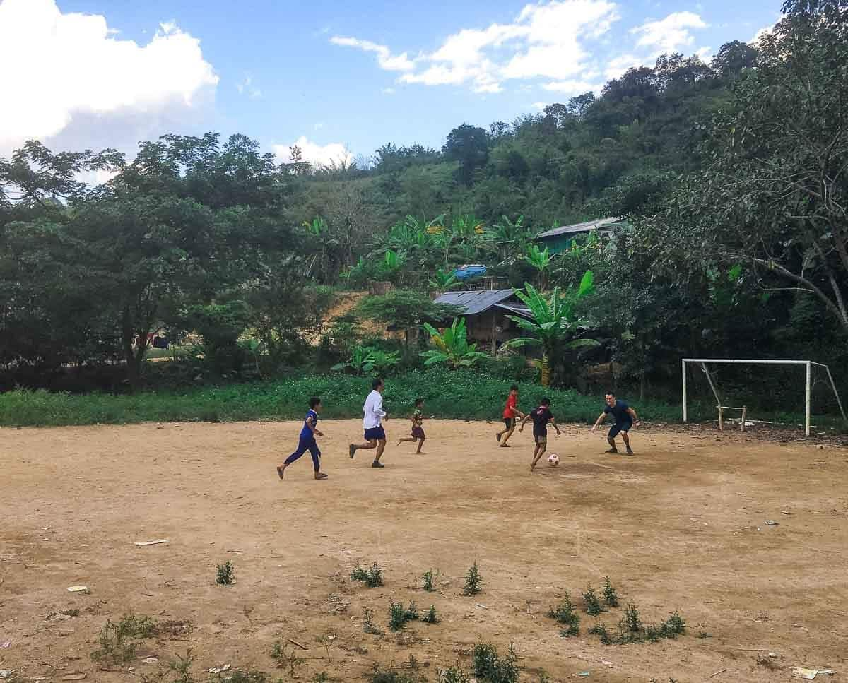 Small village soccer match in Northern Thailand