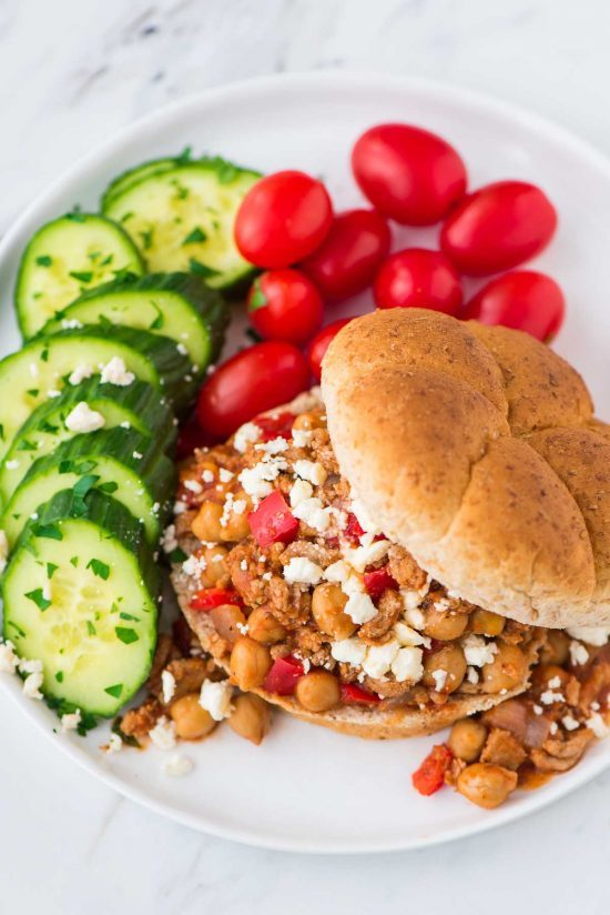 Homemade Crock Pot Sloppy Joes made with turkey, chickpeas, and feta