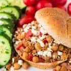 Homemade Crock Pot Sloppy Joes with Ground Turkey, Chickpeas, and Feta. An easy, healthy, and kid-friendly recipe your whole family will love! Freezer friendly and the slow cooker does the work. Recipe at wellplated.com | @wellplated