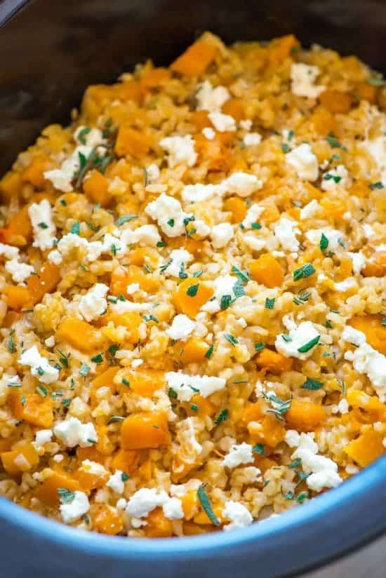 Crock Pot Risotto with Butternut Squash, Goat Cheese and Sage