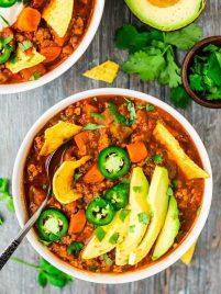 The BEST Healthy Turkey Chili. — Only 227 calories and 24 g. protein per serving! Hearty, warm, filling with the perfect amount of spice. This simple recipe will be your new chili go-to! Recipe at wellplated.com | @wellplated