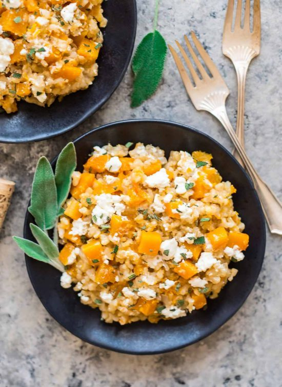Healthy Slow Cooker Risotto with Butternut Squash, Goat Cheese, and Fresh Sage