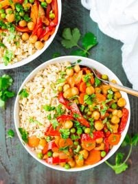 This easy vegan Chickpea Coconut Curry is the BEST Thai curry I've ever had! Easy, healthy, and FULL of flavor. Ready in less than 30 minutes! Recipe at wellplated.com | @wellplated