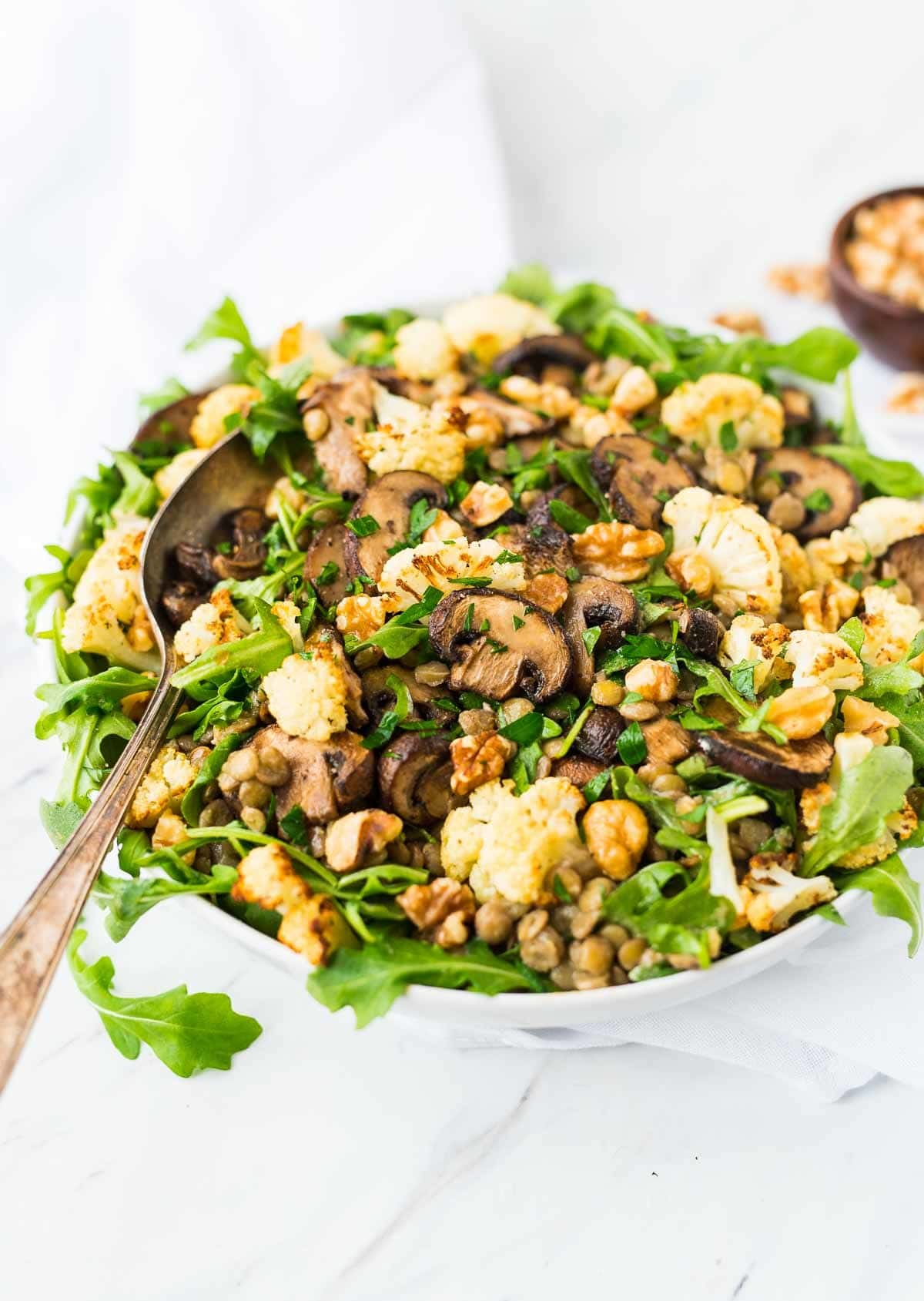 Lentil Salad with Roasted Cauliflower and Mushrooms. A healthy main dish salad with SO much flavor. Serve warm or cold. {vegan, gluten free} Recipe at wellplated.com | @wellplated