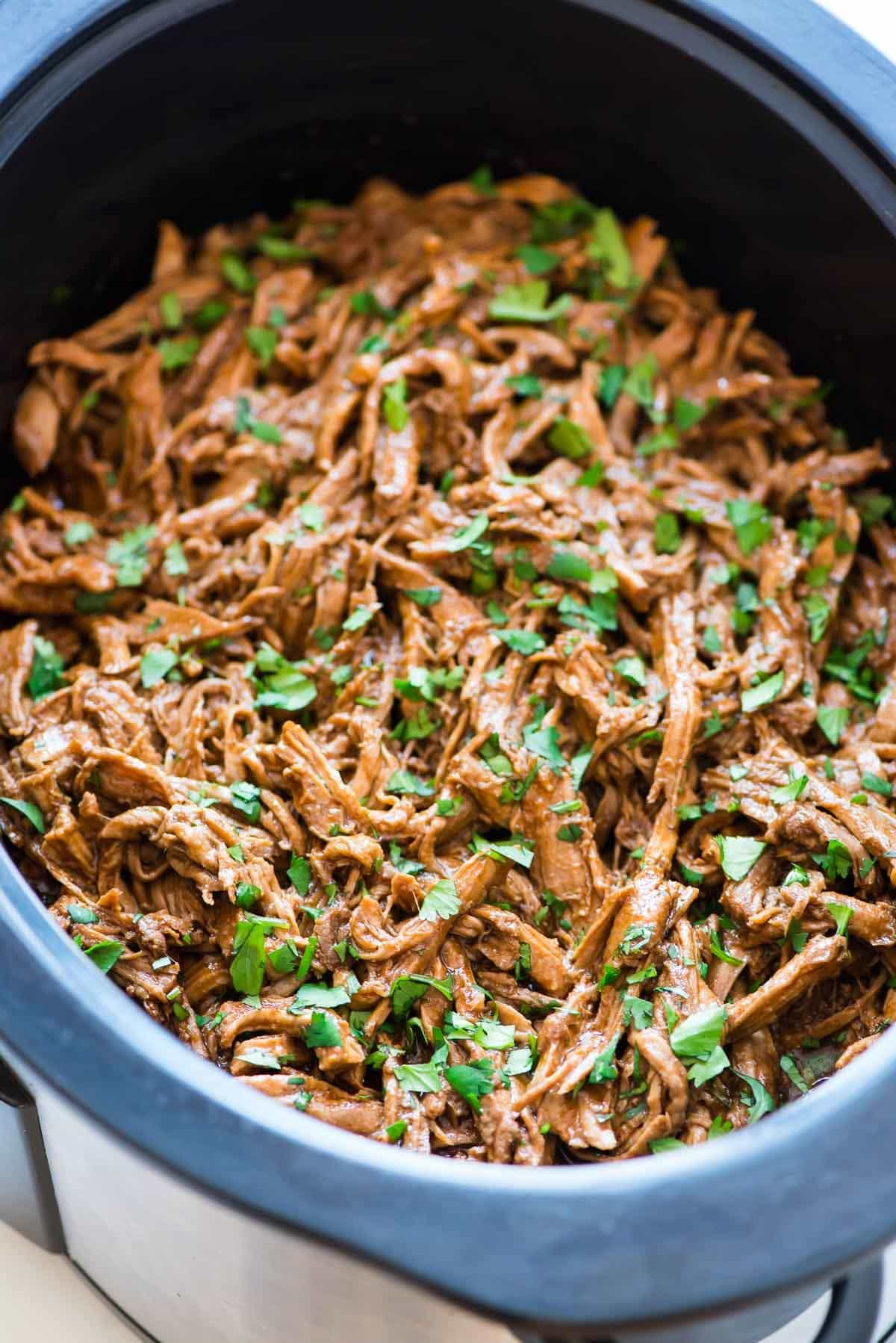 Slow Cooker full of Asian Pulled Pork