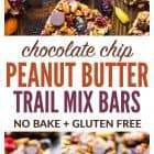 titled photo collage - No Bake Trail Mix Peanut Butter Granola Bars