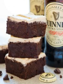Guinness Brownies - Super moist and chewy brownies with a hint of beer! Decadent, fudgy, and easy to make. You won't be able to stop eating them, and they are the perfect St. Pattys dessert! Recipe at wellplated.com | @wellplated