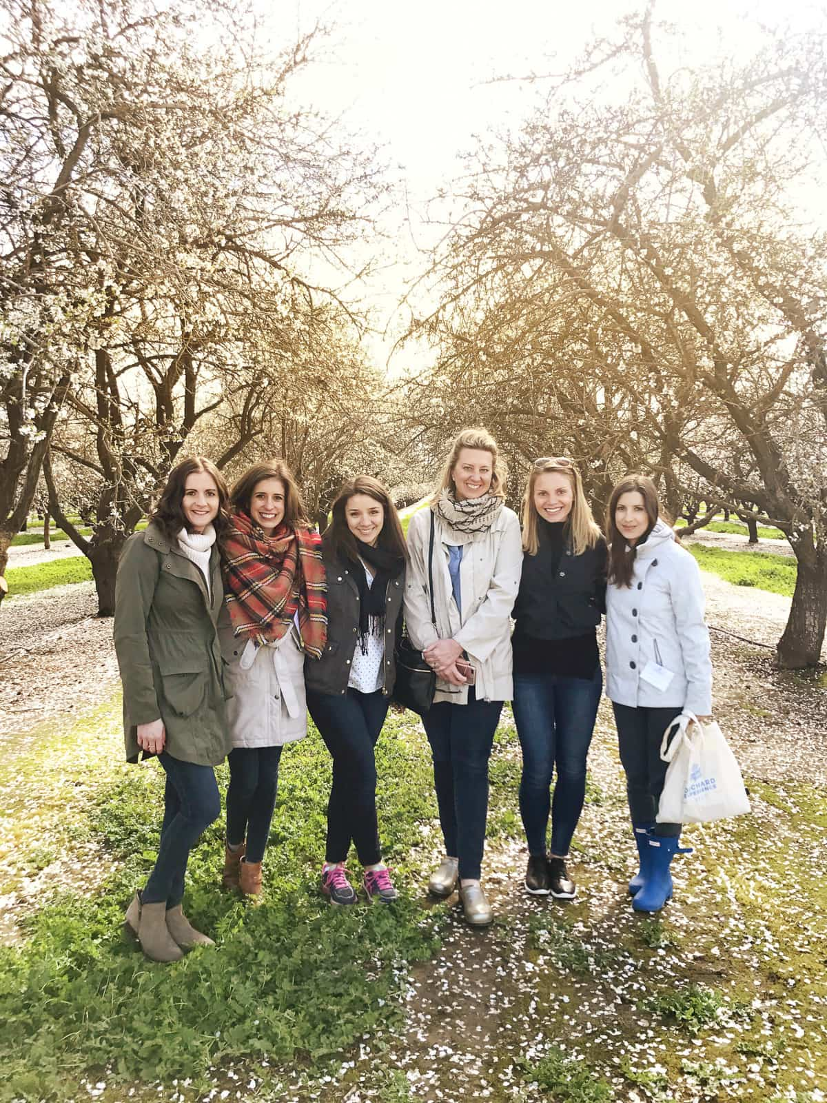 Group photo from almond orchard tour and a recipe for mashed cauliflower