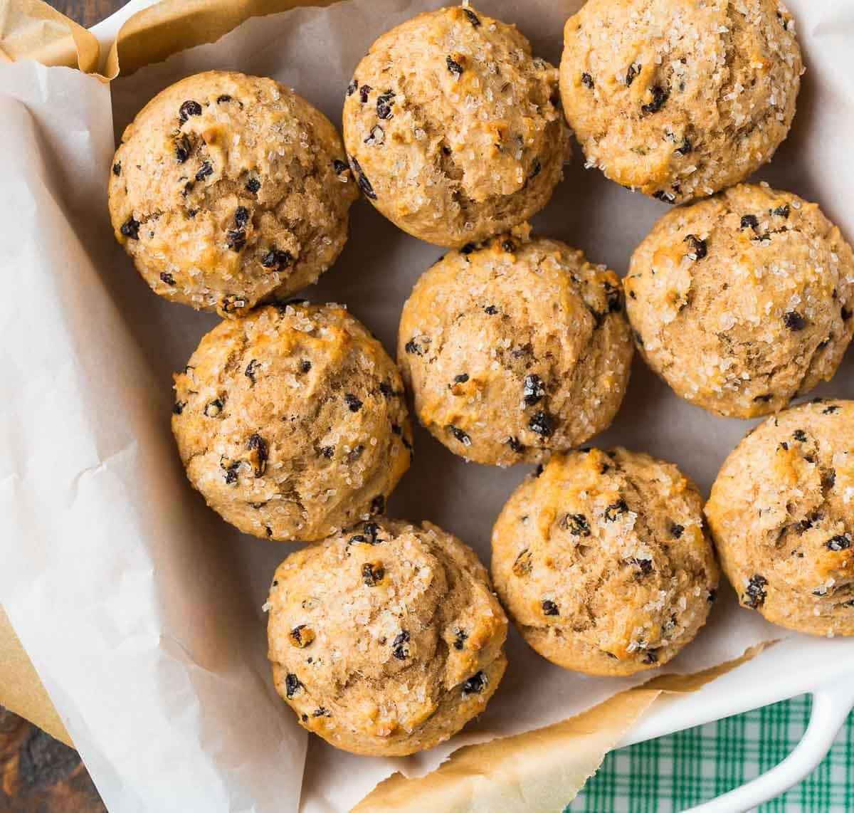 Irish Soda Bread Muffins – like traditional Irish soda bread, but easier to make (and eat!). Buttery, moist muffins, perfect for St. Patrick's Day or a healthy breakfast year-round. Recipe at wellplated.com | @wellplated