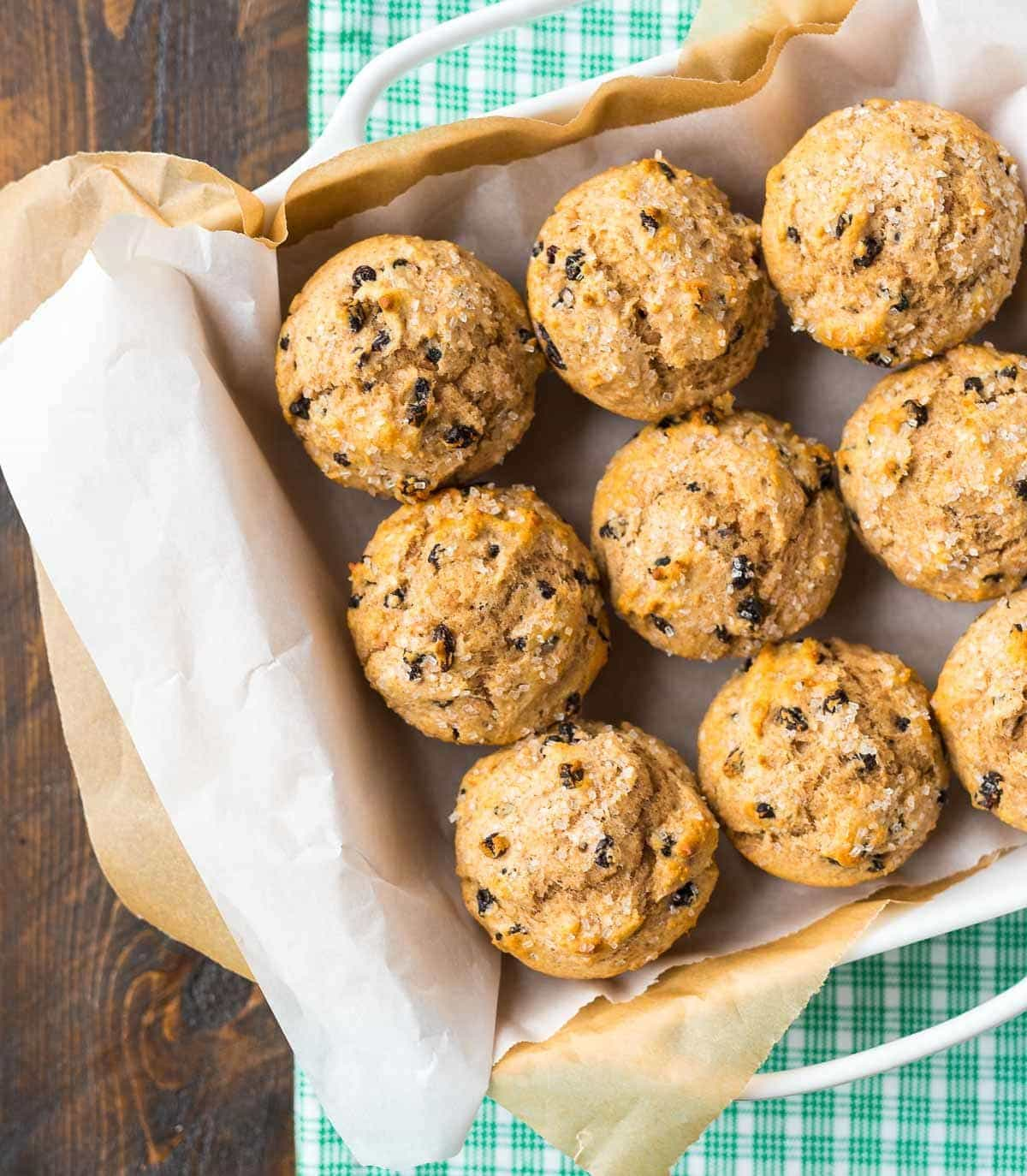 Irish Soda Bread Muffins – authentic Irish soda bread, in individual muffin form! Perfect for St. Patrick's Day breakfast or anytime you need an easy, healthy muffin recipe. Made with whole wheat flour, currants, and a touch of butter. Recipe at wellplated.com | @wellplated