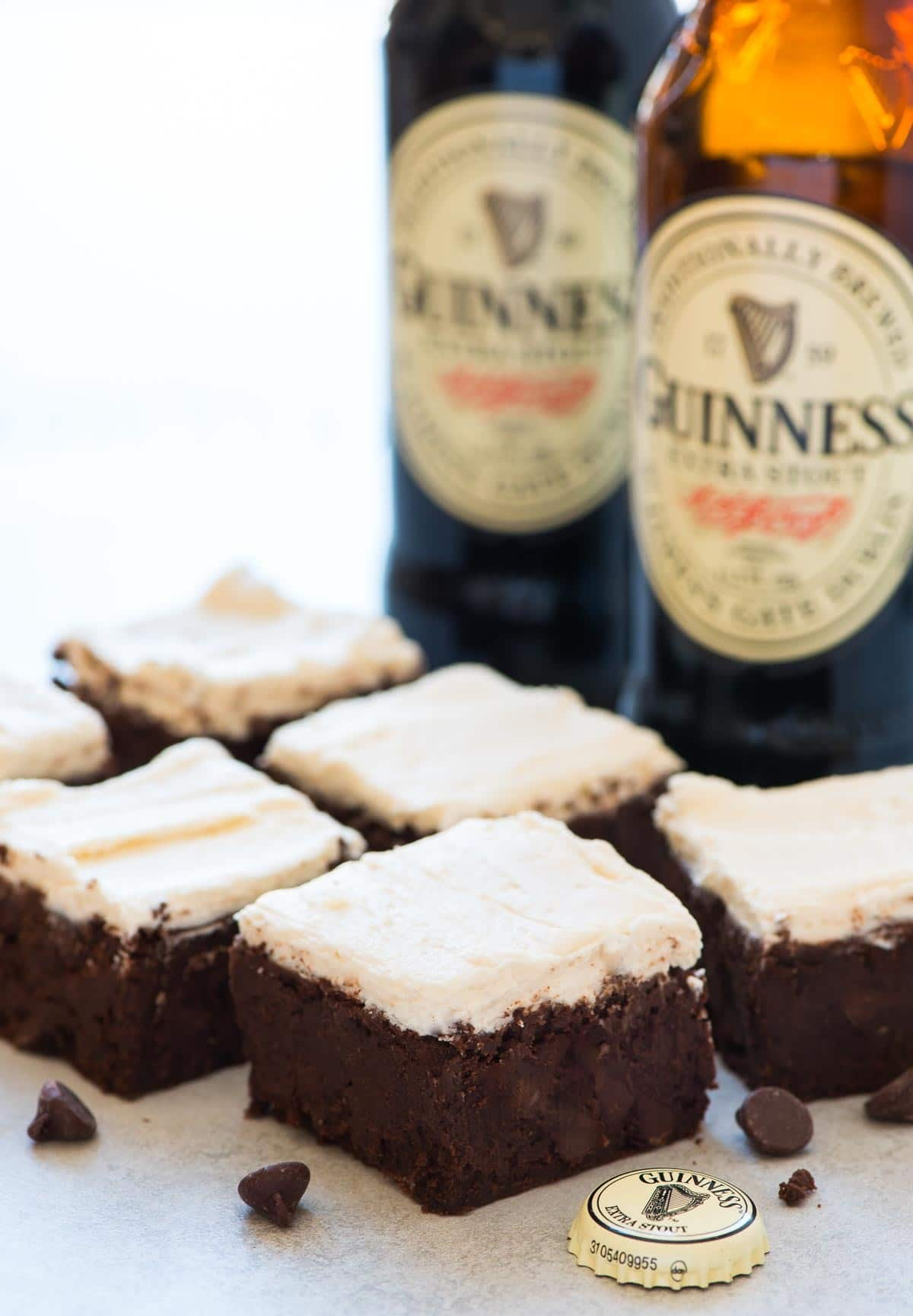Guinness Brownies – Moist, chewy brownies. Super decadent with creamy Guinness frosting. If you've never had beer brownies before, you HAVE to try this stout brownie recipe! Recipe at wellplated.com | @wellplated