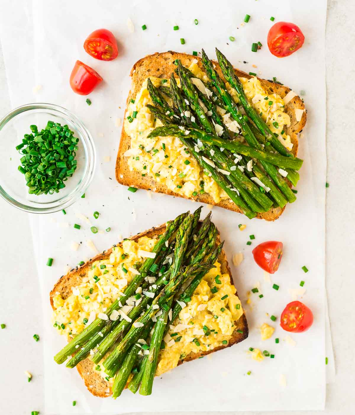 High protein vegetarian recipe: Asparagus and Soft Scrambled Egg Toasts. Recipe at wellplated.com | @wellplated