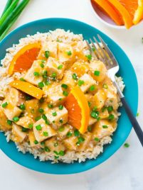 plate of Crockpot Orange Chicken