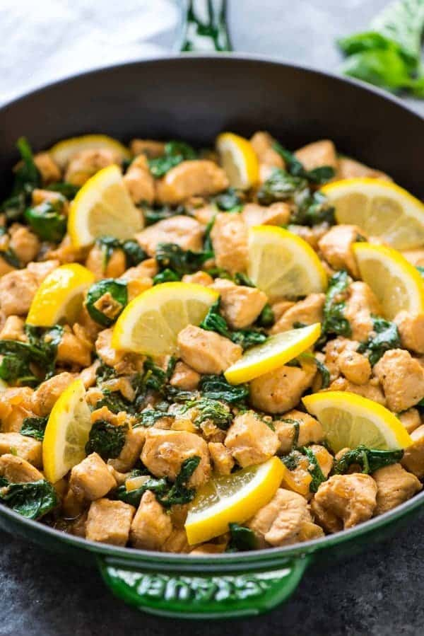 Healthy Lemon Basil Chicken skillet meal